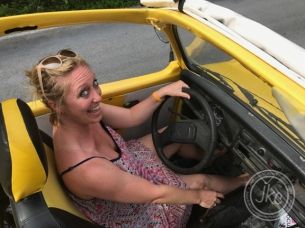 Julie in the VW convertable