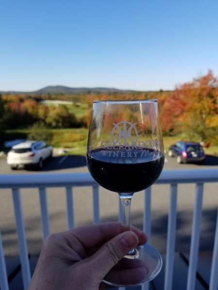 Fall foliage and vineyard in Maine